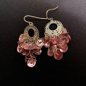 Pink sequin earrings